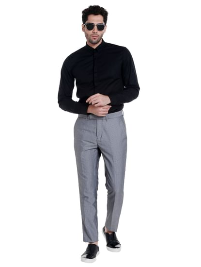 Dark Grey Regular Fit Trousers