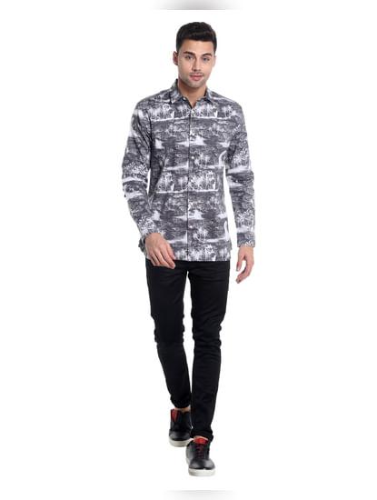 Grey Palm Tree Printed Slim Fit Shirt