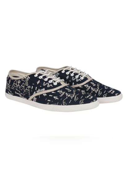 Dark Blue Printed Canvas Trainers