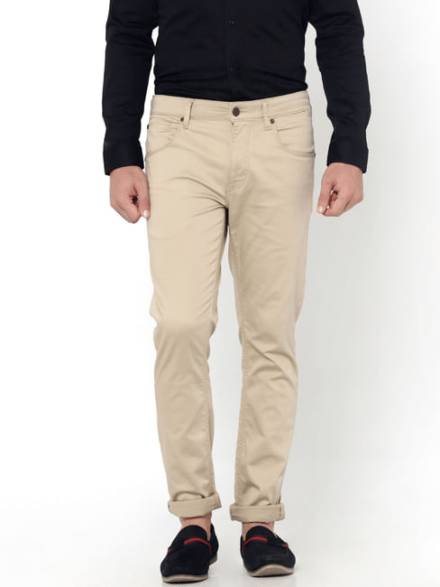 Beige Slim Fit Pants