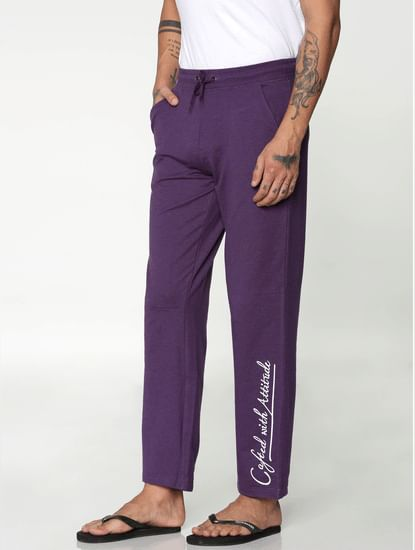Purple Side Text Print Trackpants
