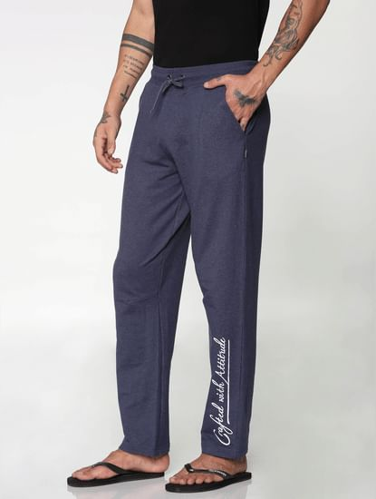 Blue Side Text Print Drawstring Trackpants