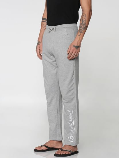 Grey Side Text Print Drawstring Trackpants
