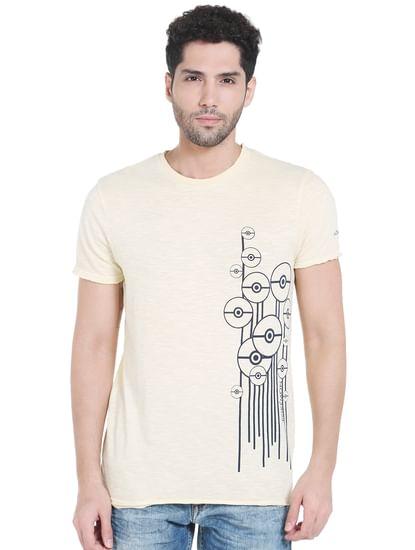 X Pokemon Light Yellow Poke Ball Print Crew Neck T-Shirt