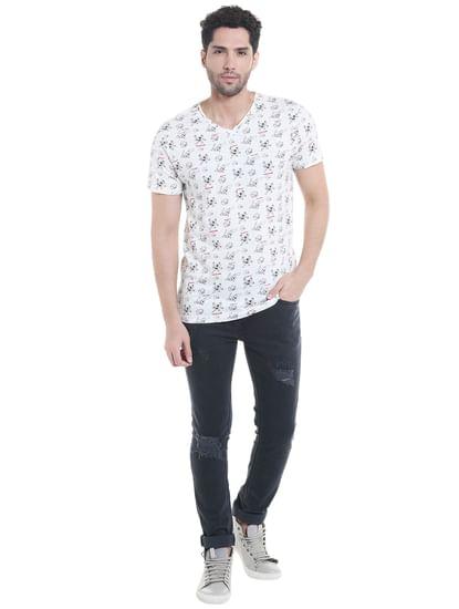 X Pokemon White All Over Print V-Neck T-Shirt