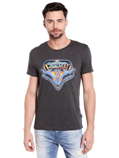 X Guardians Of The Galaxy Graphic Print Dark Grey Crew Neck T-Shirt