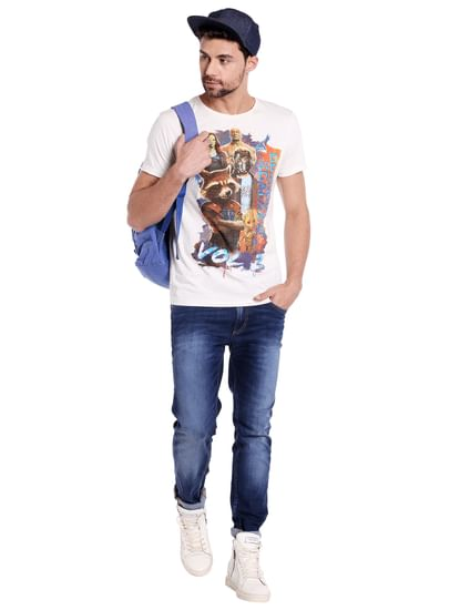 X Guardians Of The Galaxy Graphic Print White Crew Neck T-Shirt