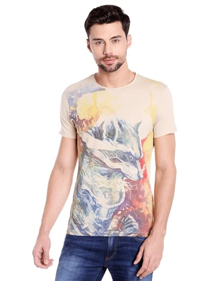 X Guardians Of The Galaxy Beige Graphic Print Crew Neck T-Shirt