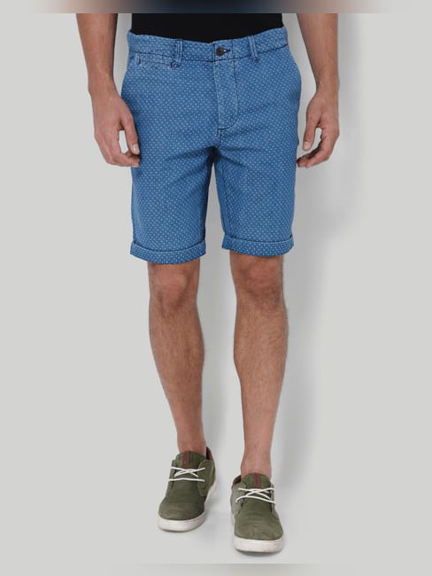 Blue Printed Mid Rise Slim Fit Denim Shorts