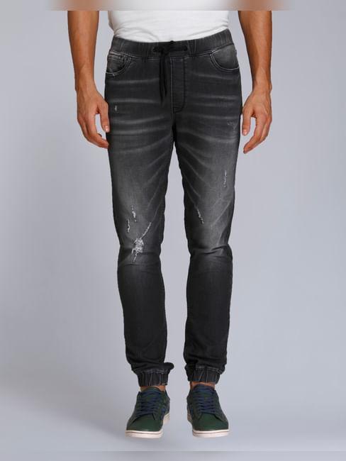 Grey Mild Distressed Skinny Fit Denim Joggers