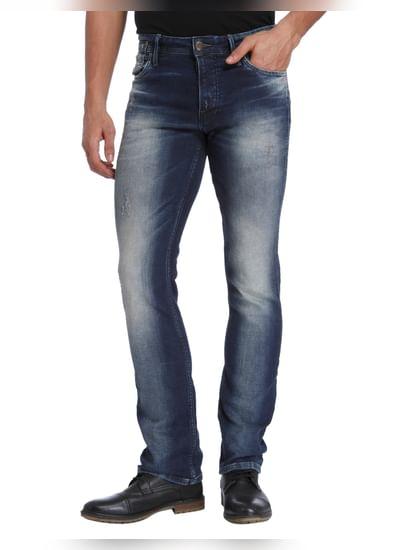 Blue Mild Distressed Mid Rise Regular Fit Jeans