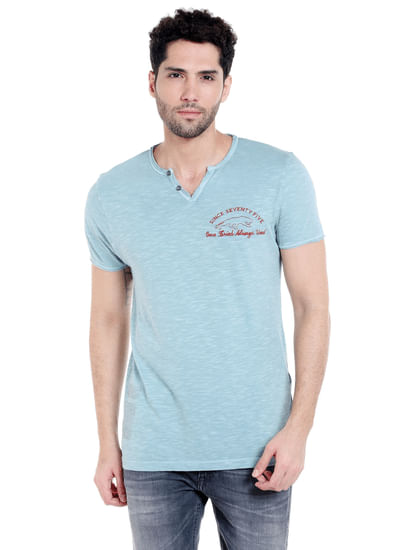 Blue V- Neck T-Shirt