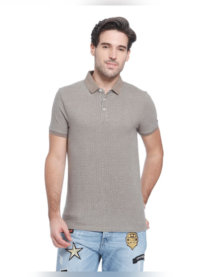 Grey Printed Polo T-Shirt