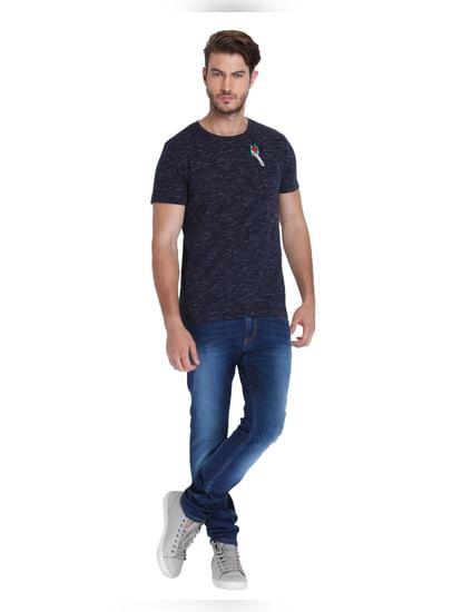 Dark Blue Rose Print Crew Neck T-Shirt