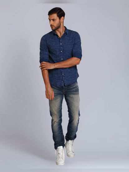 Blue Textured Slim Fit Shirt