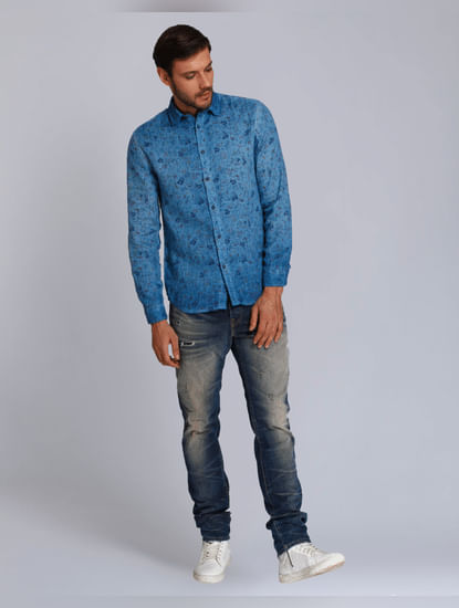 Turquoise Floral Print Slim Fit Shirt