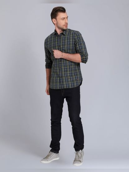 Green Check Slim Fit Shirt