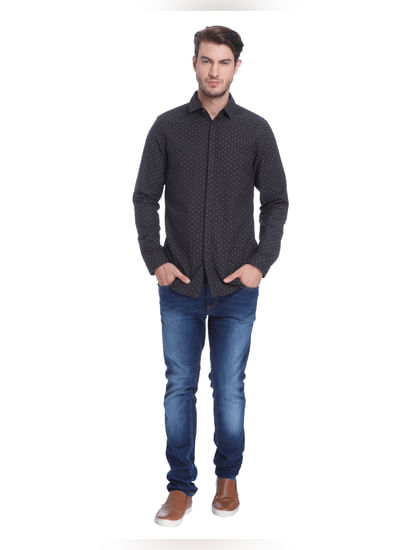 Dark Grey All Over Dotted Slim Fit Shirt