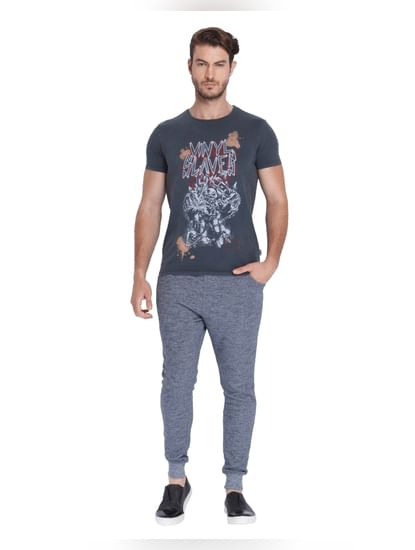 Dark Grey Graphic Print Crew Neck T-Shirt