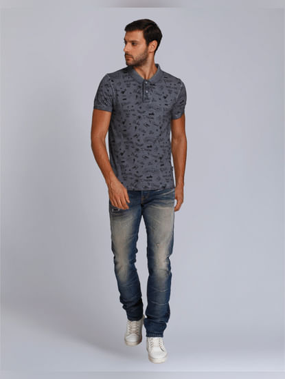 Dark Grey Scribble Print Polo T-Shirt