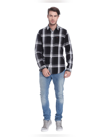 Black Check Slim Fit Shirt