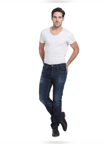 Blue Low Rise Regular Fit Jeans