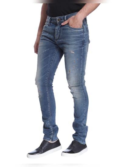 Blue Distressed Skinny Jeans