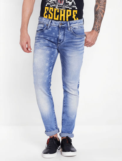 Blue Star Print Slim Fit Jeans