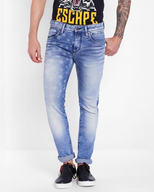 Blue Star Print Slim Fit Jeans