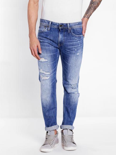 Blue Distressed Slim Jeans