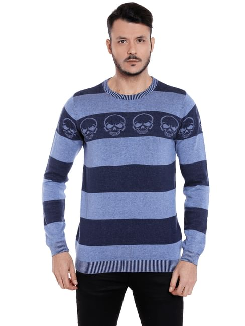 Blue Striped Skull Print Pullover