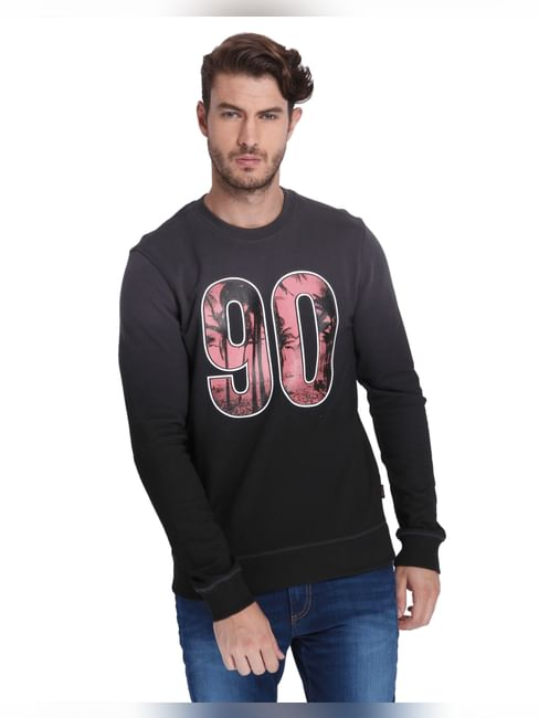 Black Number Print Sweatshirt