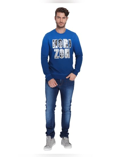 Electric Blue Slogan Print Sweatshirt