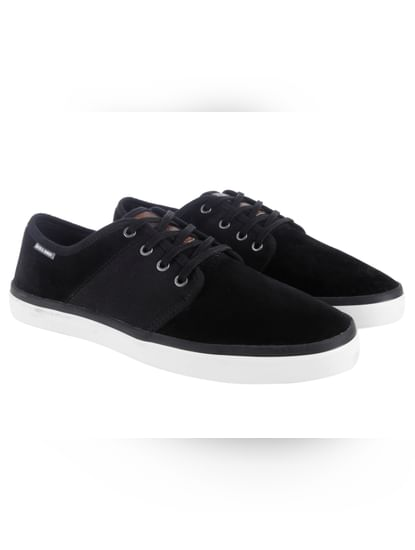 Black Faux Suede Sneakers