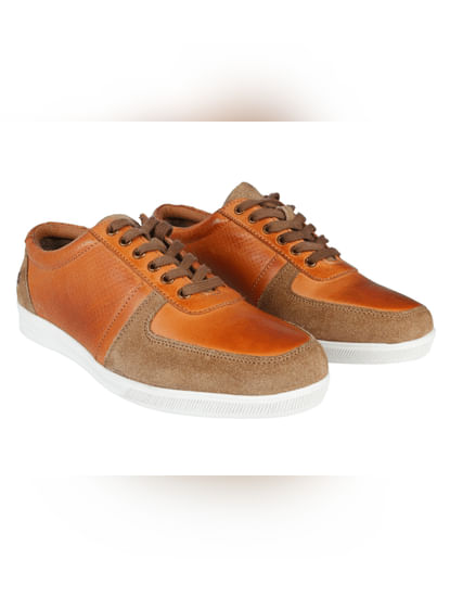 Tan & Brown Leather Sneakers