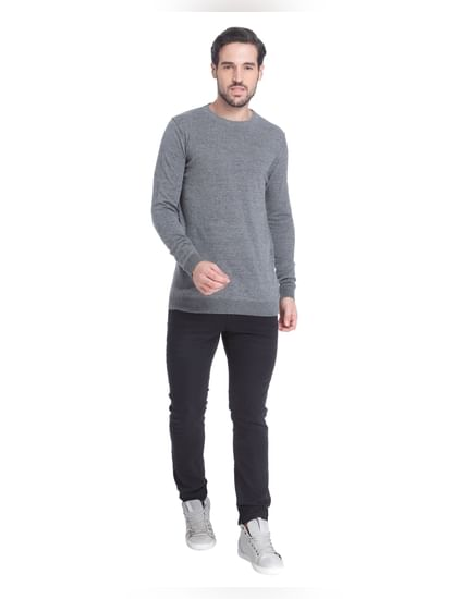Grey Knit Crew Neck Sweatshirt