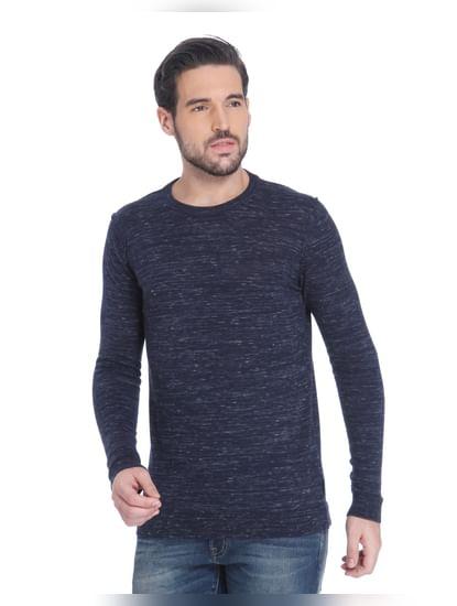 Blue Knit Crew Neck Sweatshirt