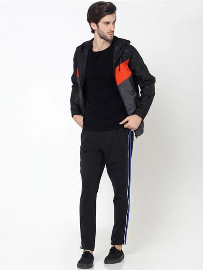 Black Colourblocked Textured Jacket