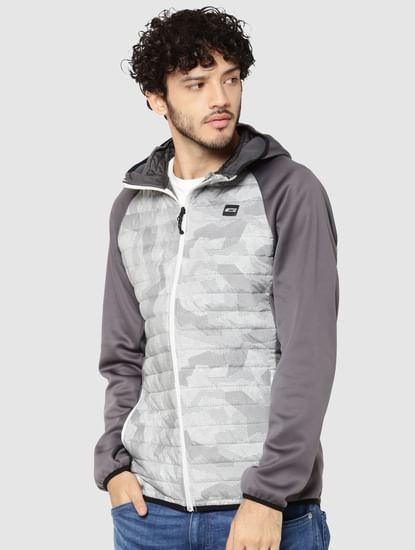 Grey Camo Print Bomber Jacket