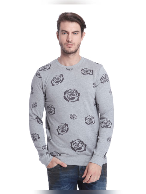 Light Grey Rose Print Sweatshirt