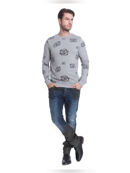 Light Grey Rose Print Sweatshirt