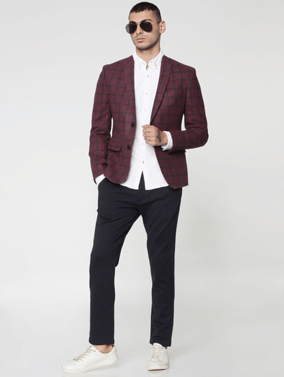 Blue Mid Rise Regular Fit Trousers