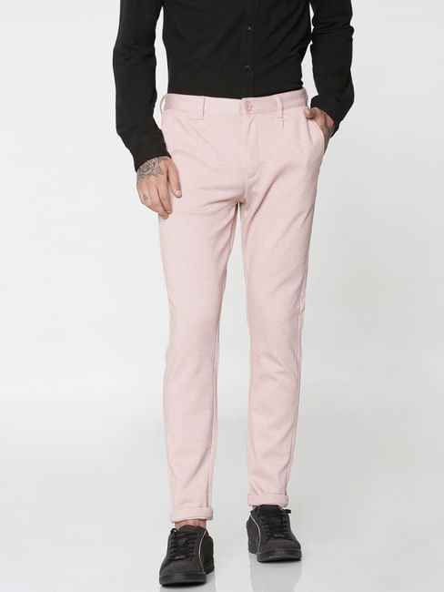 Pink Mid Rise Regular Fit Trousers