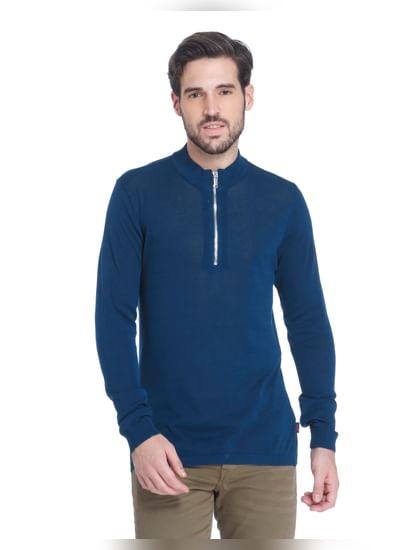 Teal Blue Zip Up Sweatshirt