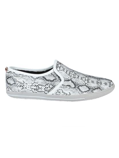 Grey Mock Croc Print Slip Ons