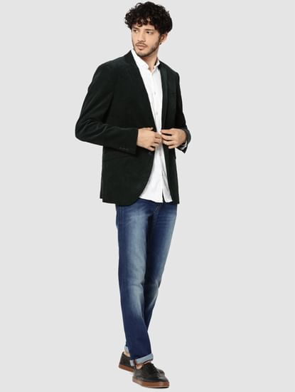 Dark Green Corduroy Slim Fit Blazer