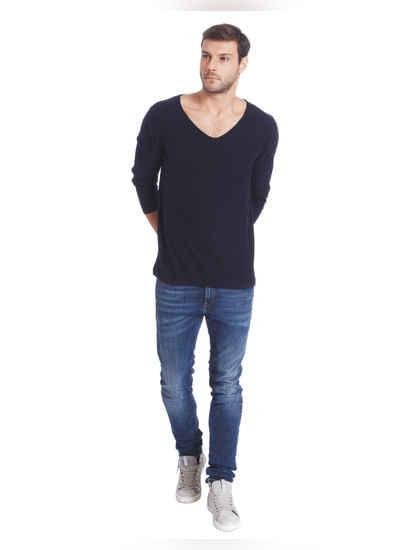 Dark Blue V-Neck Knit Pullover