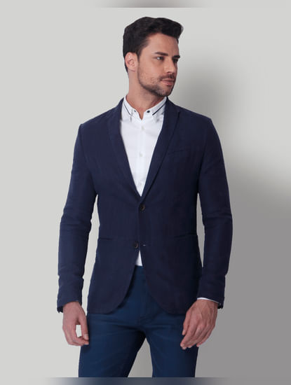 Dark Blue Linen Blazer