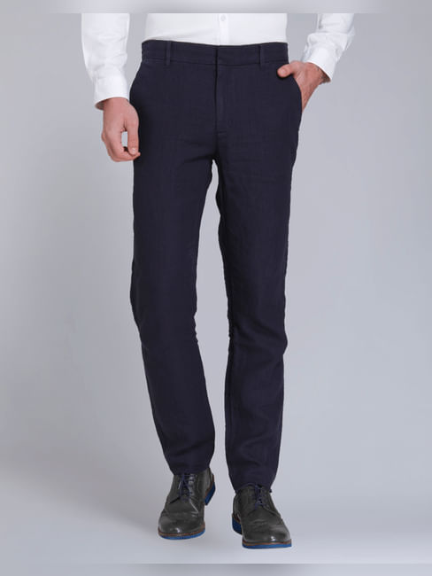 Dark Blue Regular Fit Linen Trousers
