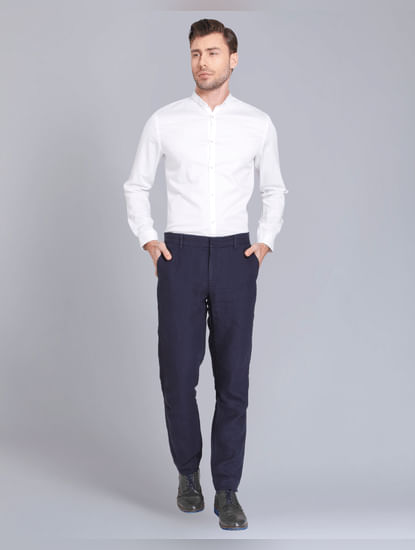 Dark Blue Regular Fit Linen Trousers